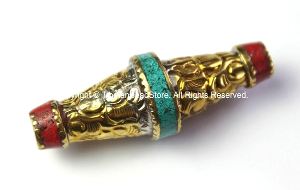 Repousse Brass Floral Bicone Tibetan Bead with Turquoise & Coral Inlay - 1 BEAD - Unique Ethnic Handmade Focal Tibetan Beads - B2428-1
