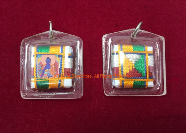 Encased Medicine Buddha Amulet Pendant with Silk Cord Mandala Weaving - Nepal Tibetan Pendant Dharma Supplies Jewelry Supplies - WM7715