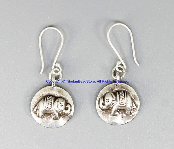 Beautiful Handmade Ethnic Tribal Silver Small Elephant Design Earrings - Handmade Real Sterling Silver Jewelry - SS8050