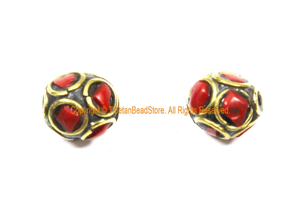 2 BEADS Tibetan Ethnic Beads Coral, Brass Inlay Beads - Red Beads 9mm x 10mm Tibetan Beads - Handmade Inlay Beads - B3509-2