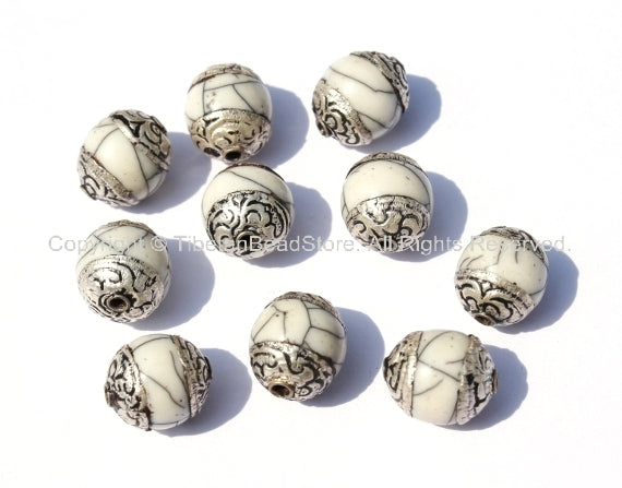 10 beads - Tibetan White Crackle Resin Copal Beads with Tibetan Silver Caps - Tibetan Beads Pendants Jewelry - TibetanBeadStore - B901-10