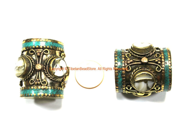 2 BEADS - LARGE Barrel Shape Tube Tibetan Brass Beads with Turquoise and Mother of Pearl Shell Inlays - Ethnic Tibetan Focal Beads- B3351-2