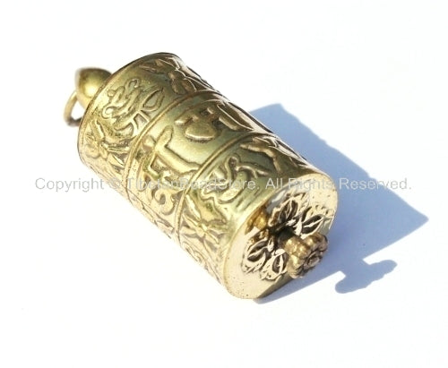 Tibetan Prayer Wheel Pendant with Mantra Prayer Scrolls - 17mm x 48mm - Auspicous Symbols, Double Vajra & Om Mani Mantra Details - WM733
