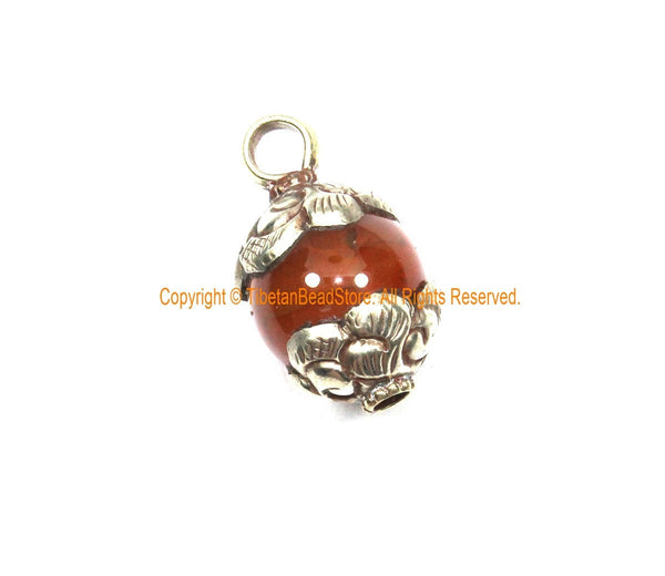 AS IS Ethnic Tibetan Old Carnelian Round Charm Pendant with Repousse Carved Tibetan Silver Floral Caps - WM7985I