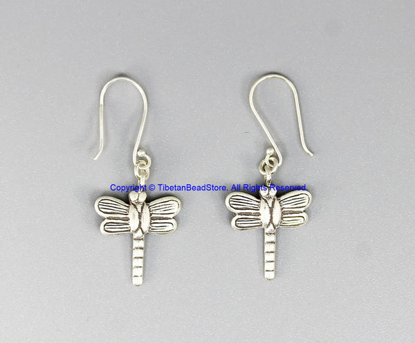 Beautiful Handmade Ethnic Tribal Silver Small Dragonfly Design Earrings - Handmade Real Sterling Silver Jewelry - SS8048