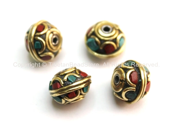 4 beads - Tibetan Floral Beads with Brass, Turquoise & Copal Coral Inlays - Tibetan Beads - Nepalese Beads - Ethnic Beads - B1598-4