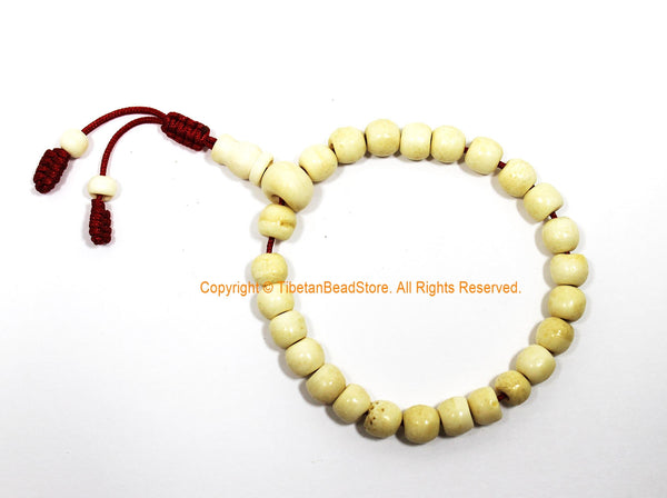 Handmade Tibetan Plain Bone Mala Bracelet - Adjustable Mala Wrist Rosary Yoga Bracelet Buddhist Tibetan Prayer Beads - C261