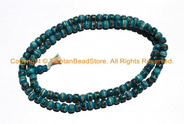 108 BEADS 8mm Tibetan Dark Blue Color Bone Mala Prayer Beads with Turquoise, Coral & Metal Inlays - Tibetan Blue Bone Mala Beads - PB147SB