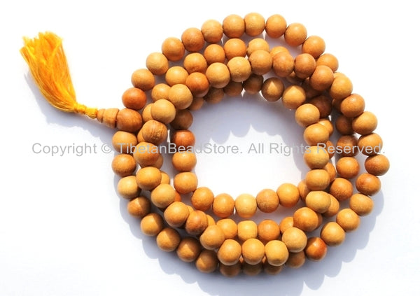 108 BEADS Tibetan Natural Wood Mala Prayer Beads - 8mm - 9mm Size - Tibetan Mala Beads - Mala Supplies - PB95 - TibetanBeadStore