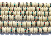 10 beads - 10mm Size White Bone Inlaid Tibetan Beads with Turquoise, Coral & Metal Inlays - LPB83-10
