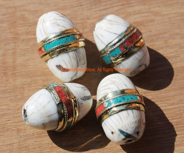 2 BEADS - Large Thick Oval Ethnic Tibetan Naga Conch Shell Bead with Brass Rings, Turquoise & Coral Inlays - Artisan Beads - B1894B-2
