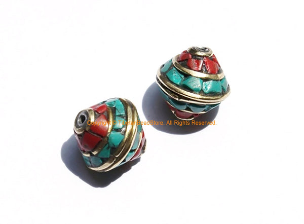 2 BEADS Nepalese Bicone Beads with Brass, Turquoise & Coral Inlays - Brass Inlaid Nepal Tibetan Beads - 12mm x 10mm - B3131-2