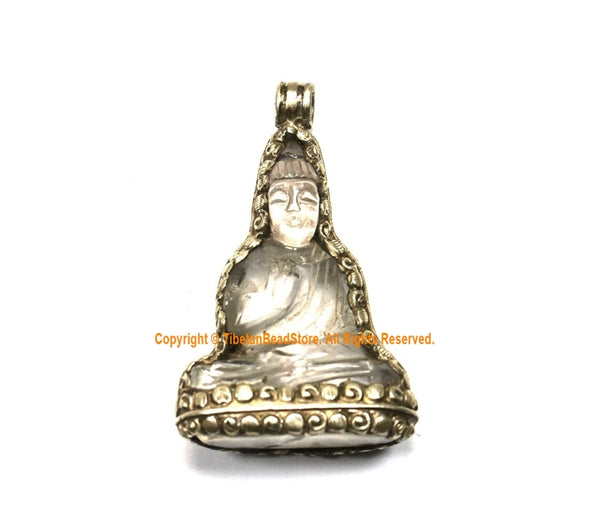 92.5 Sterling Silver Encased Carved Crystal Quartz Buddha Pendant - One of a Kind Handmade Pendant - Crystal Buddha Pendant - SS8022