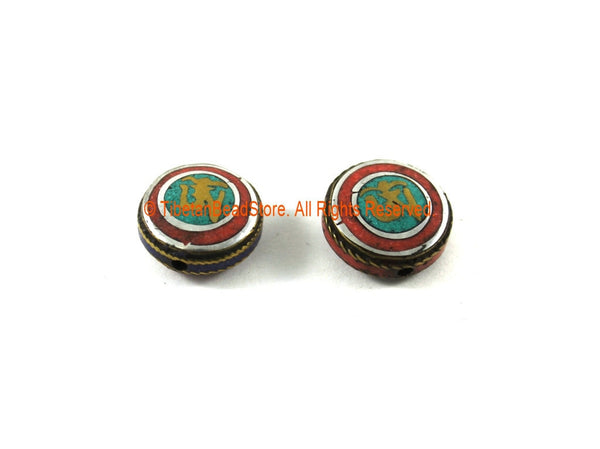 2 BEADS - Tibetan OM Mantra Inscribed Reversible Tibetan Beads with Brass, Metal, Turquoise & Coral Inlays - Tibetan Beads - B3317-2