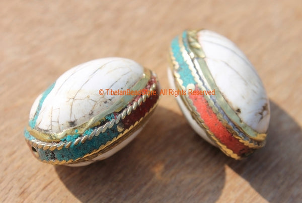 2 BEADS - Tibetan Naga Conch Shell Oval Beads with Brass Rings, Turquoise & Coral Inlays - Ethnic Artisan Handmade Beads - B1892-2