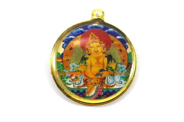 Reversible Zambala & Kalachakra Tibetan Pendant - Enamel Pendant Earring Supplies Jewelry Supplies Tibetan Pendant- WM7716