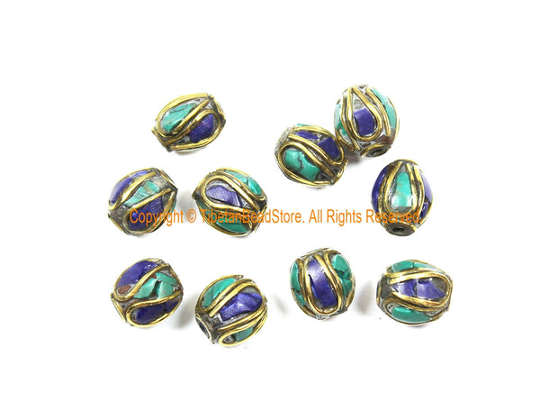 10 BEADS Tibetan Lapis, Turquoise, Brass Inlay Beads - Tibetan Beads Tribal Beads - 9mm x 10mm Handmade Tube Inlay Beads - B3510-10