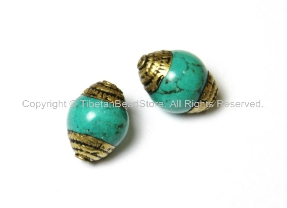 2 BEADS - Tibetan Turquoise Beads with Brass Caps - Ethnic Nepal Tibetan Beads - B1000-2