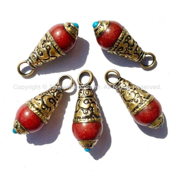 5 PENDANTS Ethnic Tibetan Red Jade Charm Pendant with Brass Caps and Turquoise Accent - WM4009-5