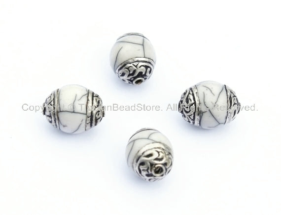 4 beads - Tibetan White Crackle Resin Copal Beads with Tibetan Silver Caps - Tibetan Beads Pendants Jewelry - TibetanBeadStore - B901-4