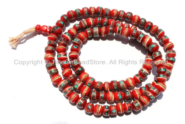 108 beads - 10mm Tibetan Red Bone Mala Prayer Beads with Brass, Copper, Turquoise & Copal Inlays - Tibetan Prayer Beads - PB13