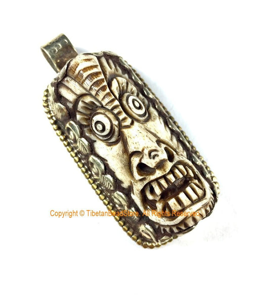 LARGE Long Unique Carved Bone Protector Guardian Tibetan Pendant - Ethnic Tribal Himalayan One of a Kind Handmade Jewelry- WM7402A