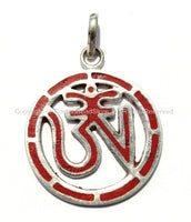 Tibetan Carved OM Pendant with Tibetan Silver & Coral Inlays - Yoga Om Pendant - Boho Tibetan Jewelry - WM5200