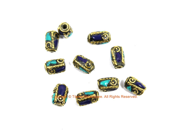 10 BEADS Tibetan Lapis, Turquoise, Brass Inlay Tube Beads - Tibetan Beads Tribal Beads - 8mm x 12mm Handmade Tube Inlay Beads - B3455-10