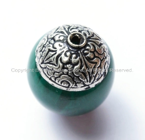 1 BEAD - Tibetan Green Copal Resin Beads with Double Vajra Filigree Repousse Tibetan Silver Caps - B1393-1