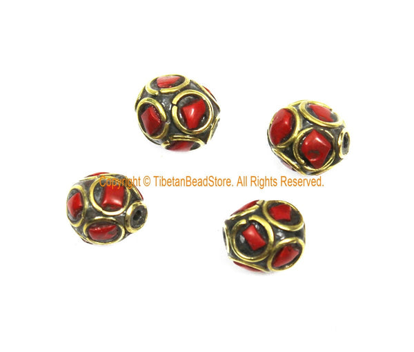 4 BEADS Tibetan Ethnic Beads Coral, Brass Inlay Beads - Red Beads 9mm x 10mm Tibetan Beads - Handmade Inlay Beads - B3509-4