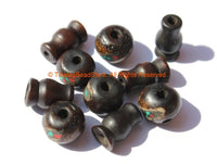 5 SETS - Inlaid Dark Bone Tibetan Guru Bead Sets - Tibetan Black Bone Guru Beads & Caps - Mala Making Supply - GB15-5