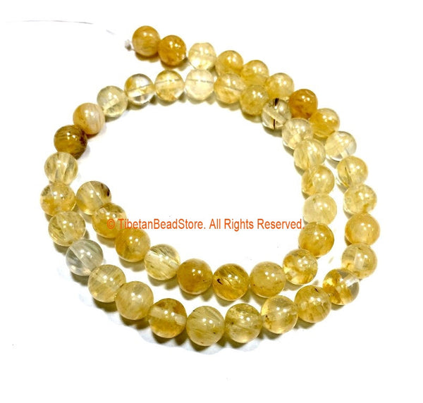 8mm Rutilated Quartz Round Beads - 1 STRAND Round Rutile Quartz Beads - Gemstone Beads - Jewelry Making Bead Supplies - GM101