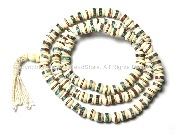 10mm Tibetan White Bone Mala Prayer Beads with Turquoise & Coral Inlays- Tibetan White Bone Mala Beads - PB12