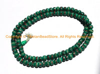 108 BEADS 10mm Tibetan Green Color Bone Mala Prayer Beads with Turquoise, Coral & Metal Inlays- Ethnic Tibetan Green Bone Mala Beads- PB148 - TibetanBeadStore