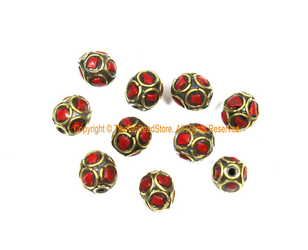 10 BEADS Tibetan Ethnic Beads Coral, Brass Inlay Beads - Red Beads 9mm x 10mm Tibetan Beads - Handmade Inlay Beads - B3509-10