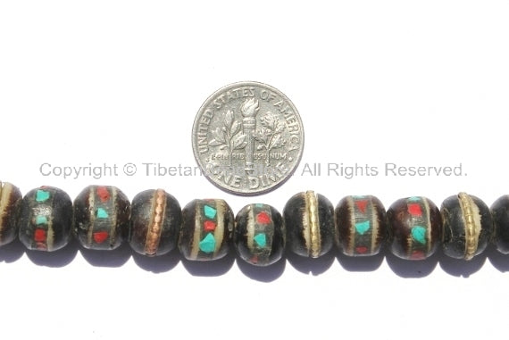 50 BEADS 10mm Size Black Bone Inlaid Tibetan Beads with Turquoise & Coral Inlays - 9mm-10mm - LPB10-50