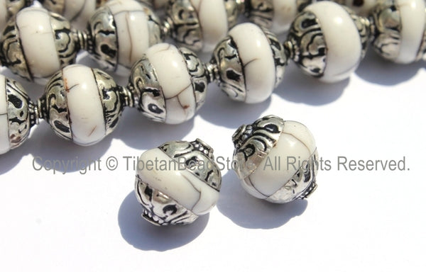 2 beads - Tibetan White Crackle Resin Copal Beads with Repousse Tibetan Silver Caps - B2015-2