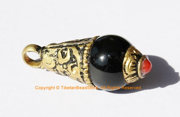 2 PENDANTS Ethnic Tibetan Black Onyx Charm Pendant with Brass Caps & Red Copal Coral Accent - Black Onyx Drop Charm Pendant- WM3594-2