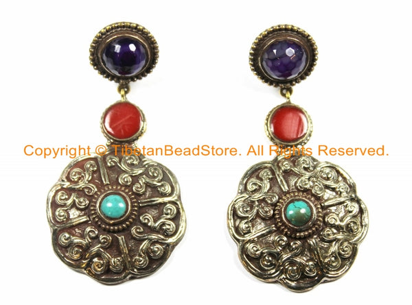 OOAK LARGE Ethnic Tibetan Floral Earrings with Turquoise, Amethyst & Resin Inlays - Handmade TibetanBeadStore Custom Designs - E14B