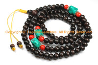 108 beads Tibetan Dark Wood Mala Prayer Beads with Spacer Beads 8mm - Tibetan Mala Beads - TibetanBeadStore Mala Making Supplies - PB130