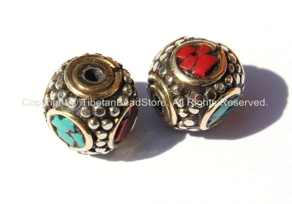 2 beads - Tibetan Studded Cube Box Beads with Brass, Tibetan Silver, Turquoise & Coral Inlays - Ethnic Nepal Tibet Tribal Beads - B1945-2