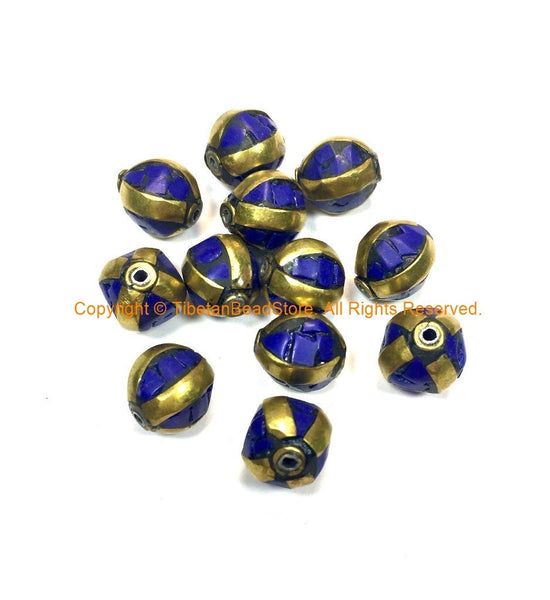 Tibetan Beads - 10 BEADS Lapis and Brass Inlaid Beads - Ethnic Handmade Beads - Gemstone Inlaid Beads from Nepal - B3235B-10