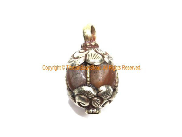 Ethnic Tibetan Old Carnelian Melon-Shaped Drop Charm Pendant with Tibetan Silver Wire Inlay & Repousse Floral Caps - WM7994C