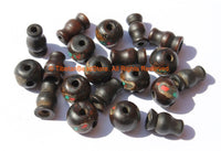 10 SETS - Inlaid Dark Bone Tibetan Guru Bead Sets - Tibetan Black Bone Guru Beads & Caps - Mala Making Supply - GB15-10