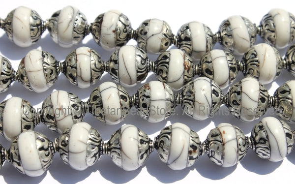 10 BEADS Tibetan White Crackle Resin Beads with Repousse Tibetan Silver Caps - TibetanBeadStore Tibetan Beads, Pendants, Jewelry - B2015-10 - TibetanBeadStore