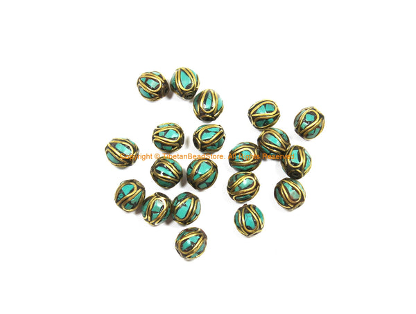 2 BEADS Tibetan Turquoise, Brass Inlay Oval Shape Beads - Tibetan Beads Tribal Beads - 9mm x 10mm - Handmade Oval Inlay Beads - B3476-2