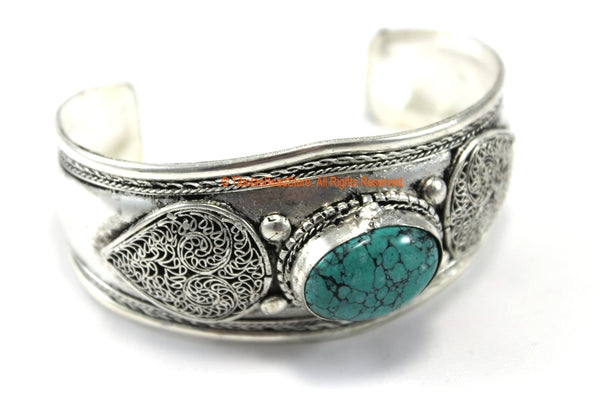 BOHO ETHNIC TRIBAL TURQUOISE INLAY FILIGREE TIBETAN CUFF BRACELET - C204