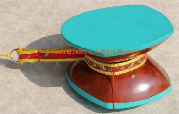 ... Tibetan Buddhist Chod Ritual Damaru Hand Drum With Brocade Case   D13