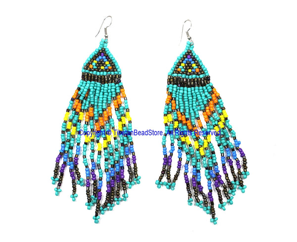 Ethnic Beaded Fringe Tassel Earrings with Multi-colored Beads - Beadwork Earrings - Handmade Jewelry - E18