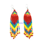 Ethnic Beaded Fringe Tassel Earrings with Multi-colored Beads - Beadwork Earrings - Handmade Jewelry - E21